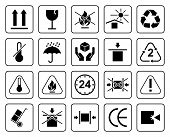 Set Of Packaging Symbols Including Fragile, To Protect From The Sun, Processing, Protected From Mois poster