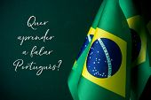 some flags of brazil and the question quer aprender a falar portugues?, do you want to learn to spea poster