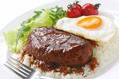 stock photo of loco  - loco moco hamburger plate  - JPG