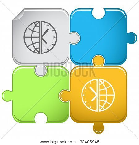 Globe and clock. Raster puzzle. Vector version is in portfolio.