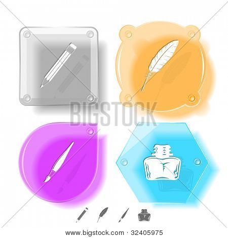 Education icon set. Brush, inkstand, feather, pencil. Glass buttons. Raster illustration.