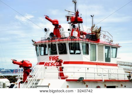 Fire Rescue Boat At Dock