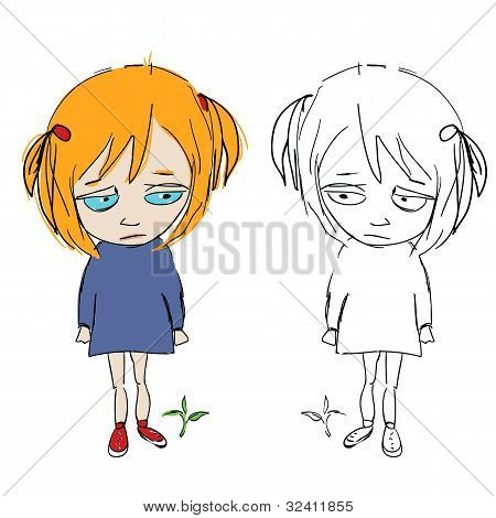 Cuteface Cartoon Girly,with Her Double In Sketch/comic Grily