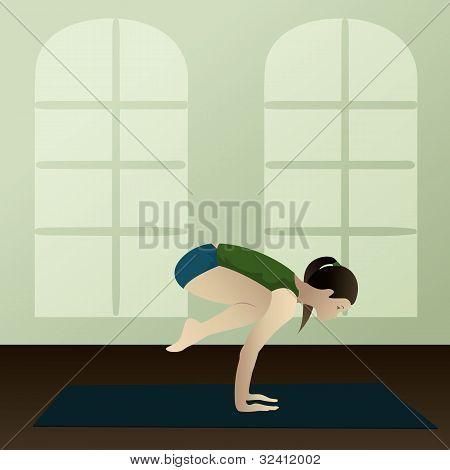 Young Woman Practicing Yoga Bakasana(crane Yoga Pose)