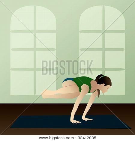 Young Woman Practicing Yoga Side Crane Pose(parsva Bakasana)
