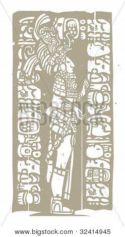 Standing Mayan Woodblock