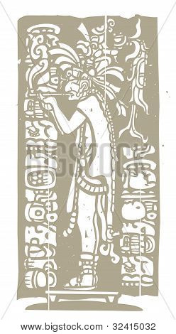 Smoking Mayan Priest Woodblock