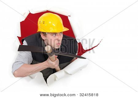 Construction worker with a pickax