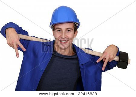 Confident young manual worker