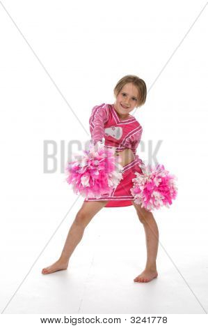 Cheerleading Little Girl With Pom Poms