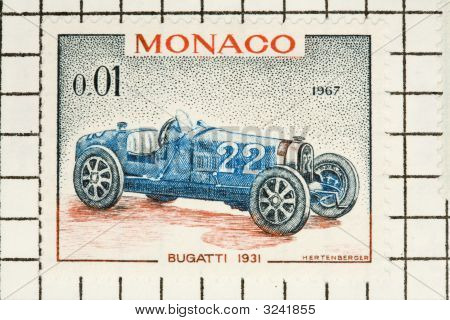 Old Stamp Of The Monaco Grand Prix Race