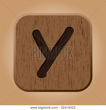 Hand drawn  wooden letter Y.