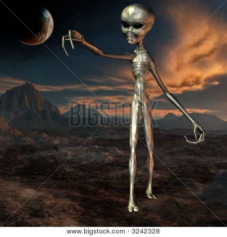 Alien With Background