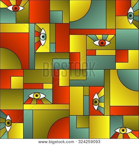poster of Modular Pattern With Eyes In Geometric Shapes Grid 80s And 90s Vintage Fashion Fabric Print. Modern
