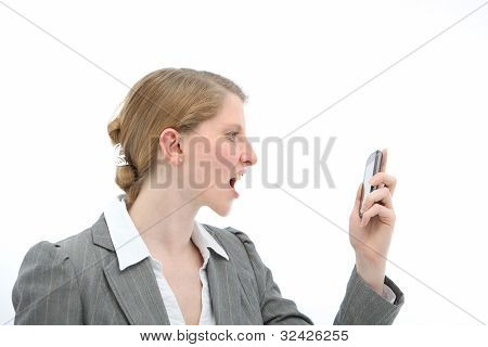 Horrified Woman Reading Text Message On Phone