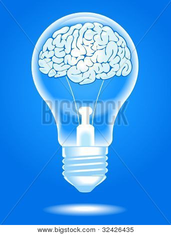 the concept of the emergence of the idea.shining lamp with the brain. Brain storming. File is saved in AI10 EPS version. This illustration contains a transparency