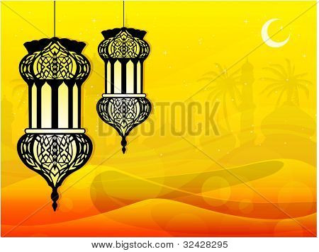 Intricate arabic lamps on desert with moon and stars on seamless mosque background. EPS 10. Vector illustration.
