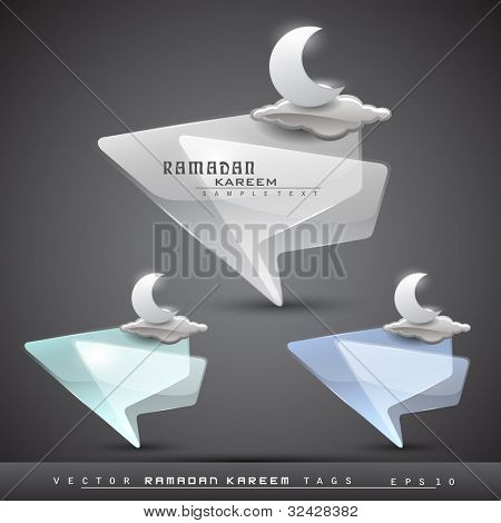 Vector Ramadan Kareem transparent icons set with moon and glossy clouds in blue, green and grey color with space for your text, can be use as sticker, tag, label, icon.
