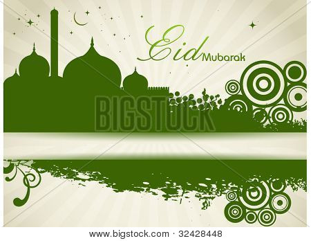 Arabic Islamic calligraphy of text with Mosque or Masjid on  shiny abstract  background in green color . EPS 10. Vector illustration.