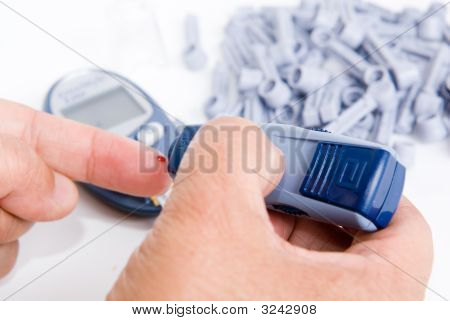 Diabetic Is Doing A Glucose Level Test