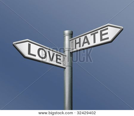 amor odio opuesta elección les guste o no positivo o negativo diverso gusto