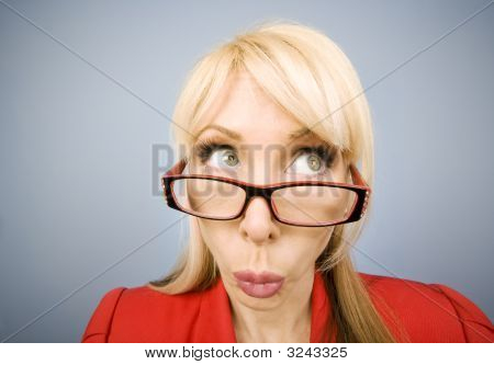 Woman In Red Making A Funny Face
