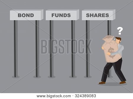 poster of Business Man Deciding Where To Invest His Money In. Business Asset Allocation Concept. Investment We