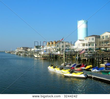 Marina with piers, boats and jet skis