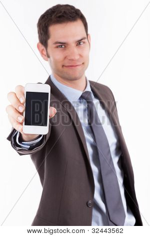 Young Cuacasian Businessman Showing Something On A Smartphone