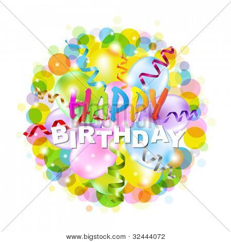 Happy Birthday Poster With Bokeh, Isolated On White Background, Vector Illustration