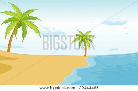 Illustration of a beach paradise