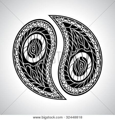 Abstract floral Yin Yang Symbol vector illustration.