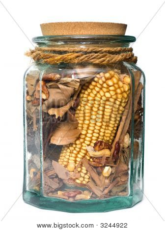 Decorative Glass Jar With Aromatic Dried Vegetables