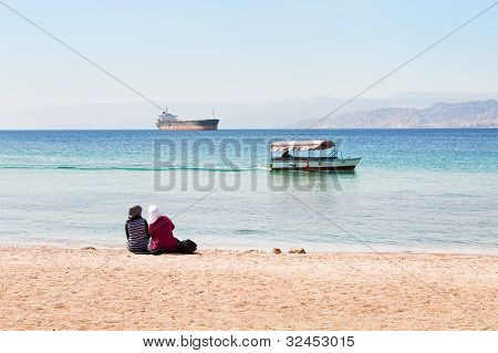 People On Urban Beach In Aqaba Town