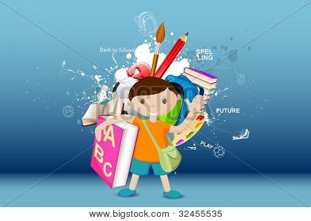 illustration of boy standing with book on education background