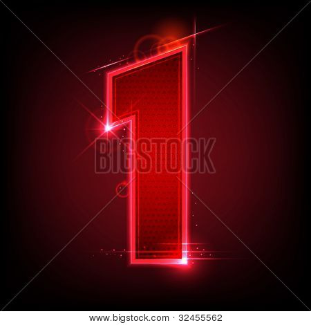 illustration of glowing number seven on abstract background