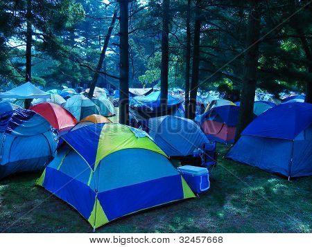 Early Morning Campground Tents