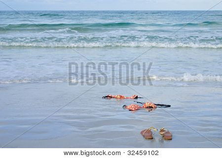 Skinny Dipping Orange Bikini On Beach