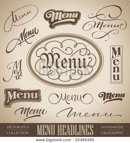 menu headlines, hand lettering set (vector)
