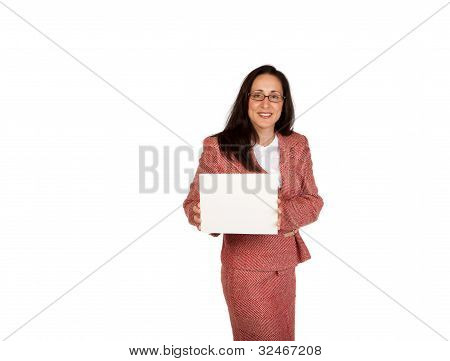 Adult Businesswoman Isolated On White Background