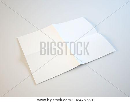 Blank white folding paper