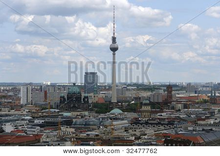 Aerial View Of Berlin With Television Tower