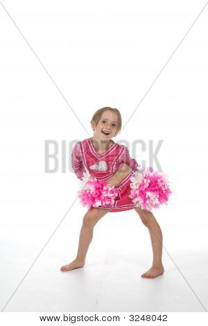 Little Girl Cheerleader In Pink