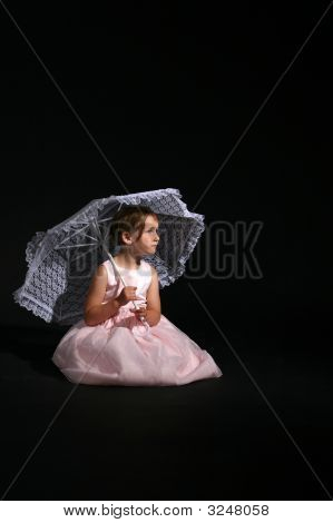 Pretty Girl With Pink Dress And Parasol
