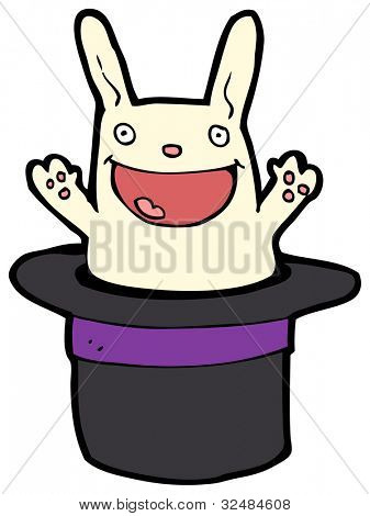 cartoon white rabbit in hat