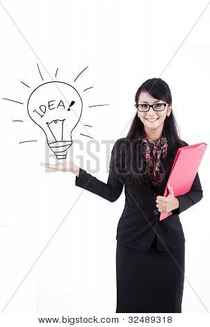 Attractive Business Woman Showing Copy-space