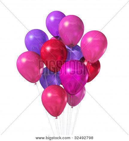Pink Balloons Group Isolated On White