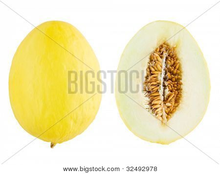 Canary melon with cross section isolated on white