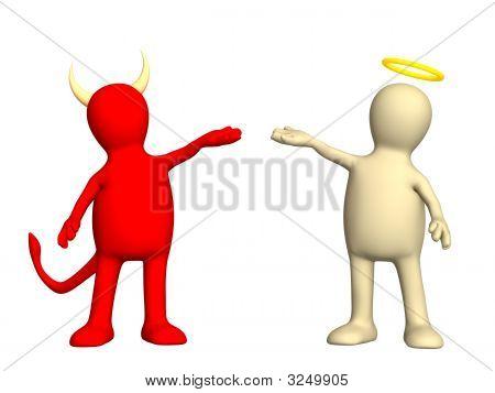 Angel und Teufel Freundlichkeit und Böse