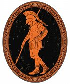 Ancient Greek Warrior With A Spear In His Hand Is Leaves The Battlefield. Oval Medallion Isolated On poster